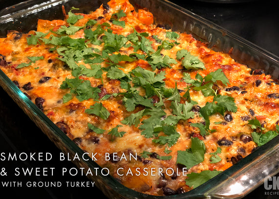 Smoked Black Bean and Sweet Potato Casserole with Ground Turkey