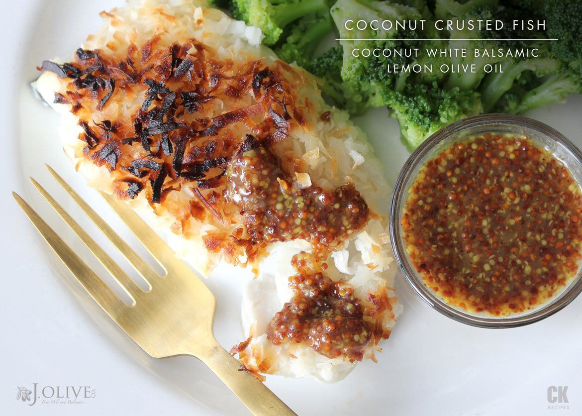 Coconut Crusted Fish with Mustard Sauce