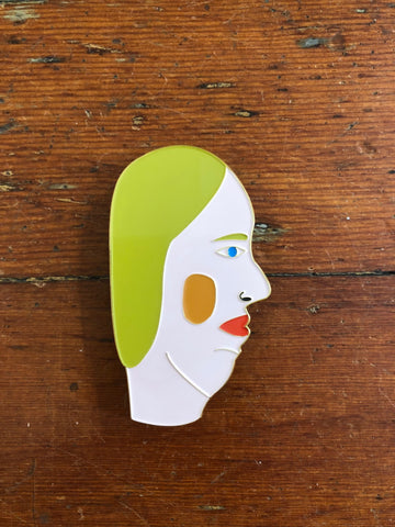Chris Johanson Large Enamel Pin/Sculpture - Blue Head