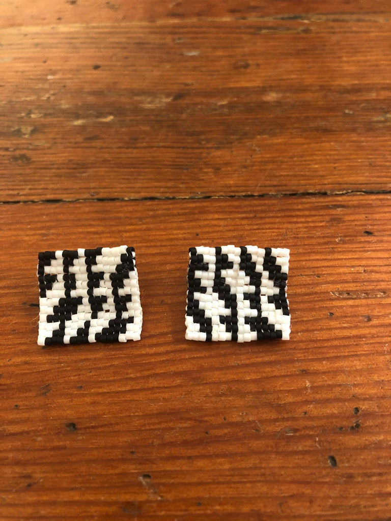 Black and White Beaded Earrings by Emily Prince