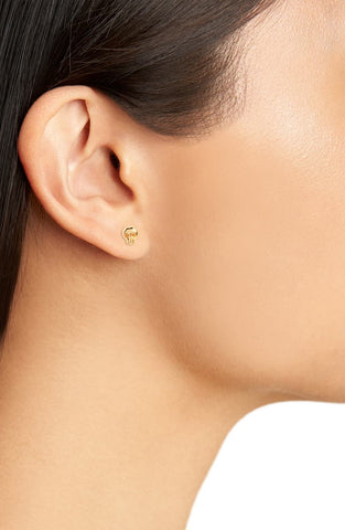 Skull Gold Stud Earrings by Kris Nations