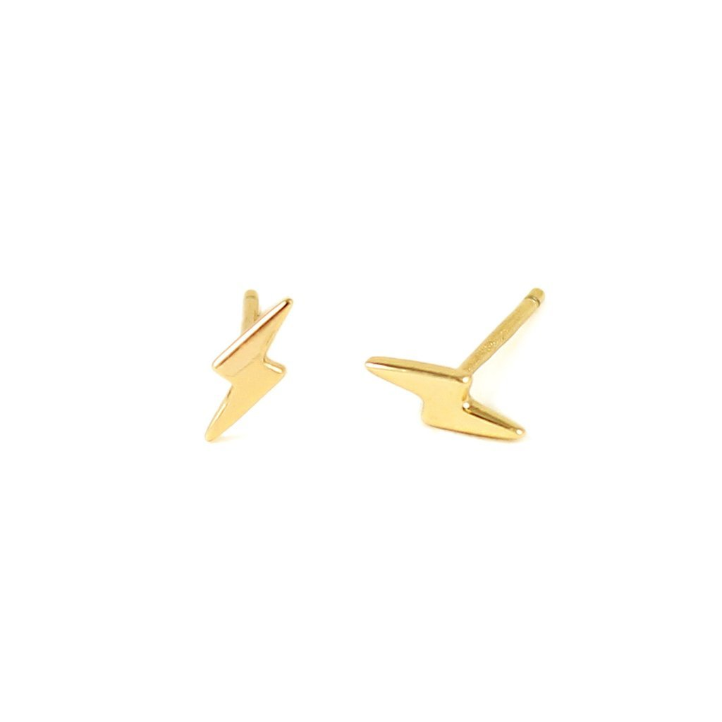 Lightening Bolt Stud Earrings by Kris Nations - Gold