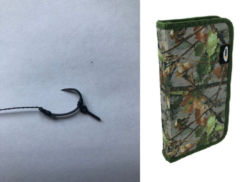 10 German Rigs With bait screw & camo rig wallet
