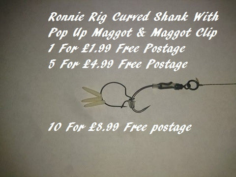 Ronnie Rigs Curved Shank With Maggot Clip On Teflon Hooks