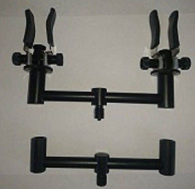 2x 13Cm Buzz Bars Black & 2 Aluminium Coloured Butt Rests