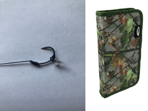 10 German Rigs With plastic bait screw & camo rig wallet
