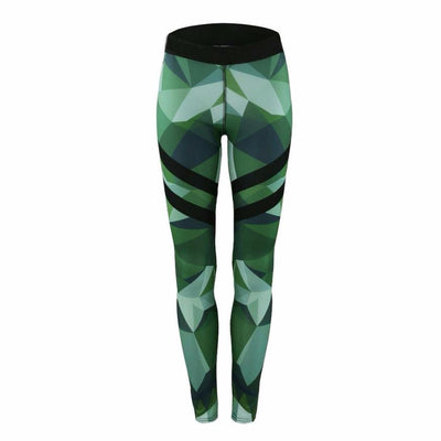 Green Abstract Print Fitness Leggings