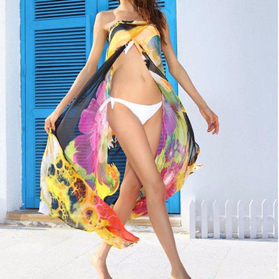 Floral Flow Sheer Strapless Beach Dress