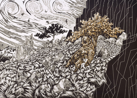 An Untamed Bond, Part 2 of 5 of The Allegory of Atalanta, linocut, 2020.  Edition of 6, printed on Arnhem 1618, 16 x 22 inches.  When Atalanta was born, her father had hoped for a boy and so he left her on a mountainside to die of exposure as was the practice with unwanted girls or disabled children. Artemis, in the form of a shebear, found her and suckled her. She was raised as one of Artemis' huntresses.