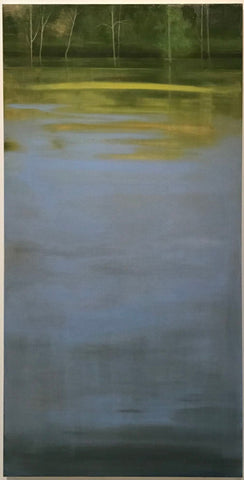"Bleu d'Or, or Blue Gold is a moment captured in a morning glimpse of the expanse of river in front of the artist's home studio. An  oil on canvas, 48 h x 24""w."