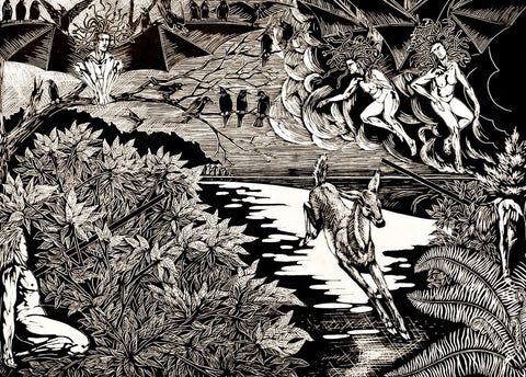 "Otus and Ephialtes, 2019. Linocut 16 x 22 in, edition of 4, printed on Arnhem 1618. Excerpt ""Otus and Ephialtes"" by Anna Williams"