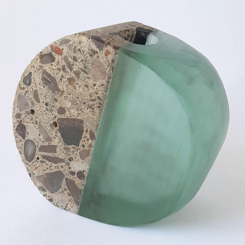 Stone and Glass Vase   This piece features concrete and recycled plate glass. 4 x 3.5 x 1""