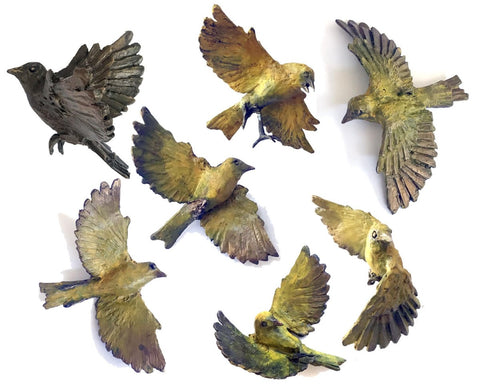 "Sentinel, each cast bronze sculpture of a canary in flight is a one of a kind capture of a moment in time. Erin created 99 for a recent solo exhibition at the public gallery Galerie Montcalm, 4 1/2 x 3 x 2"","