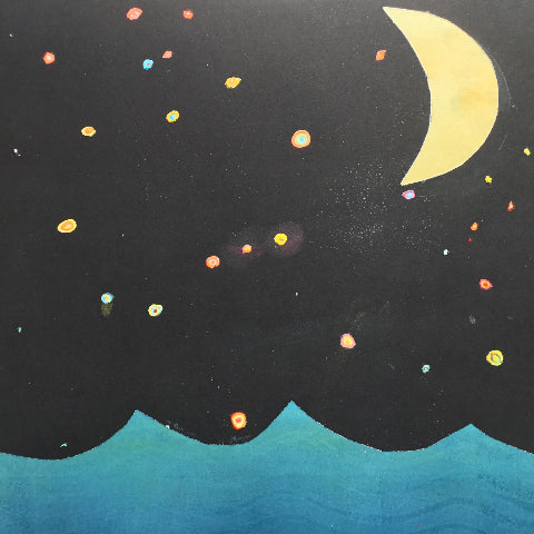 This print is a part of McIntyre's series, Familiar, a tale about a nervous witch who goes on an adventure as told in an analogue Instagram feed. All the prints in the series are unique 1/1 editions.  Print 14: As she looked at the stars twinkling away, the stars seemed to shimmer a rainbow array of different colours and hues.  Cut paper printing, stencil printing monoprint, gouache  12 x 12 inches  2019