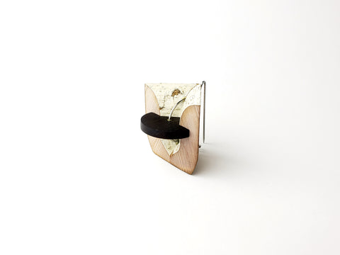 "la garniture d'une jeune chambre, brooch  Recycled wood trim, ebony, steel, brass, 1.5"" x 1.5"", 2020"