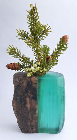 Stone and Glass Vase   5 w x 2.75h x 3 d  inches