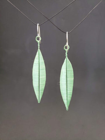 Leafy earrings, hand crafted from paper, silk, copper and sterling silver.