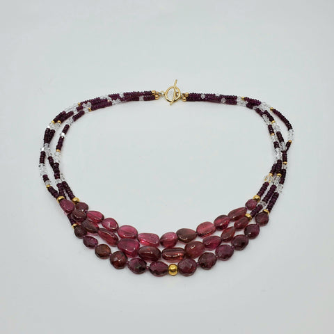 Rubellite and rotolight necklace for La Pai