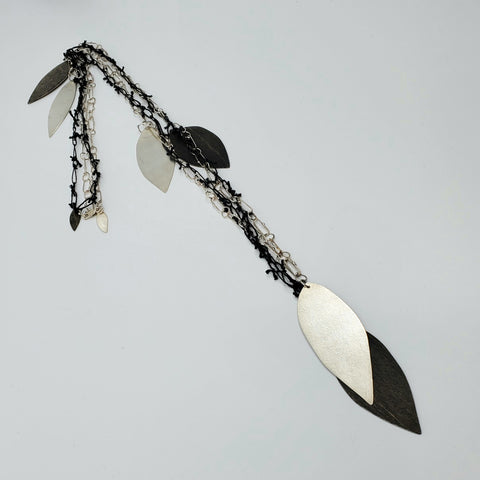 Large leaf black and white necklace for La Pai gallery