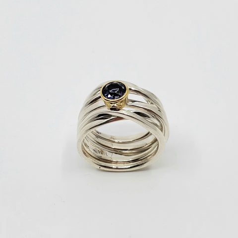 Dorothee has chosen a beautiful 5.5 mm 0.64 ct round iolite hand-cut in Nova Scotia by master gem cutter Keith Thomas.  Set in an 18k yellow gold bezel, this sterling silver Onefooter Ring is a size 7.Profile.