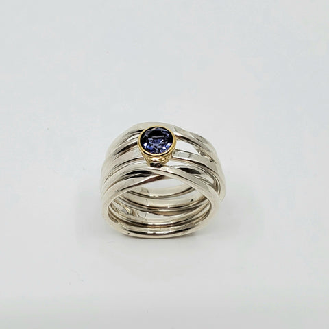 Dorothee has chosen a beautiful 5.5 mm 0.64 ct round iolite hand-cut in Nova Scotia by master gem cutter Keith Thomas.  Set in an 18k yellow gold bezel, this sterling silver Onefooter Ring is a size 7.