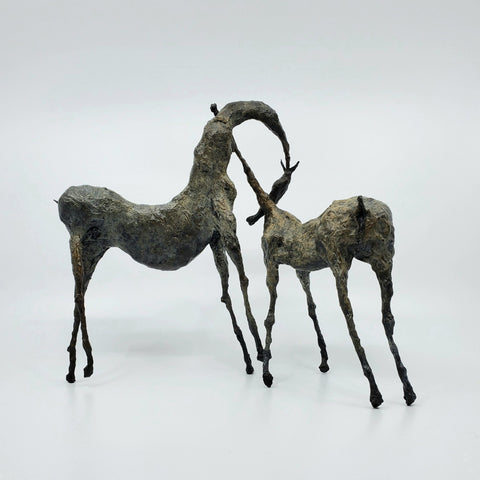 Bini, bronze sculpture of a pair of horses with necks stretched toward each other, alternate view. From a series of 8; 27 x 21 x 11 cm.