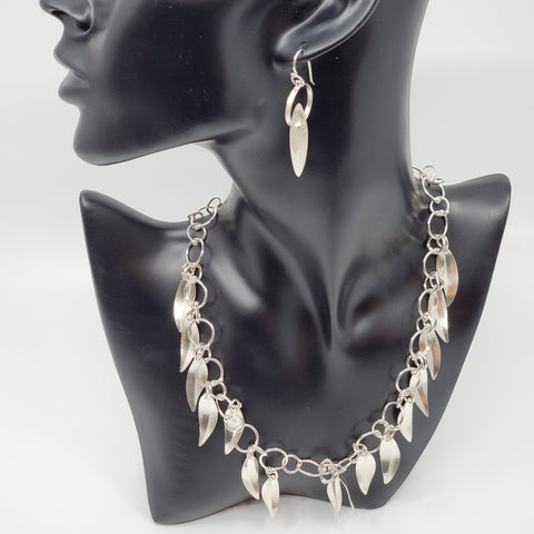 Silver Leaf earrings with necklace