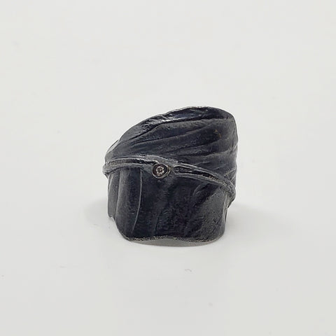 Black feather ring in an oxidized sterling silver, featuring a genuine diamond accent.