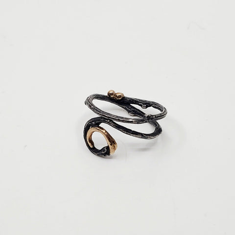 Spiral Ring in oxidized sterling silver with recycled 12k gold details. Size 5.5