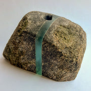 Stone and Glass Vase   Fused rock and recycled plate glass. 5.75 w x 3.25 h x 2.5 d inches.