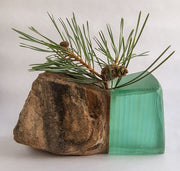 Stone and Glass Vase   Fused rock and recycled plate glass. 6 w x 3.75 h x 3 d inches.