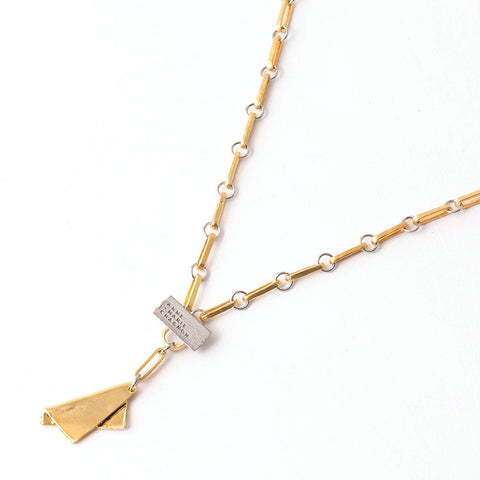 "Jaida pendant in 22k matte gold-plated bronze and pewter, measuring 18.5"" in length"