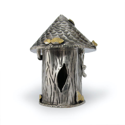 Andree Chenier Sterling silver Tree Trunk Box with gold leaf details.