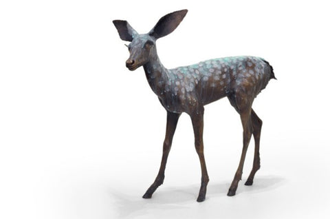 Fawn, cast bronze sculpture by Anna Williams