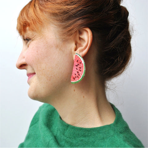 Watermelon Slice Earrings.  Machine embroidered, these studs are structured, airy-light, and durable, 4 x 6 cm.