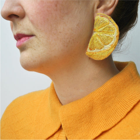 Lemon Slice Earrings.  Machine embroidered, these studs are structured, airy-light, and durable, 4 x 6 cm.
