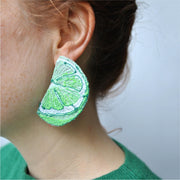 Lime Slice Earrings.  Machine embroidered, these studs are structured, airy-light, and durable, 4 x 6 cm.