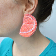 Grapefruit Slice Earrings.  Machine embroidered, these studs are structured, airy-light, and durable, 4 x 6 cm.