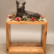 Sanctuary, cast bronze and ceramic flowers and foliage with 200-year old reclaimed local wood  A life-sized bronze fox curls up in repose encircled by a ring of ceramic flowers interwoven with thorns.  The wooden pedestal is from 200-year old wood salvaged from homes being remodelled in the artist's neighbourhood.  This work hovers between a celebration and acknowledgement of the fragility and grounding nature of home and also a memento mori.