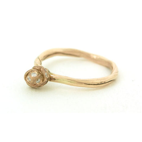 Annie Tung rosebud ring in 14K gold with diamonds.