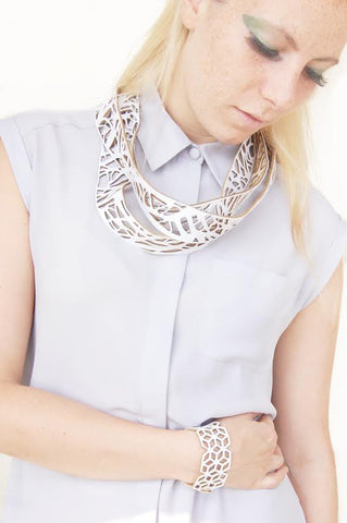 Arbo Longo white necklace in laser cut neoprene by Black Lune.