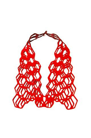 Red necklace in laser cut neoprene by Black Lune.