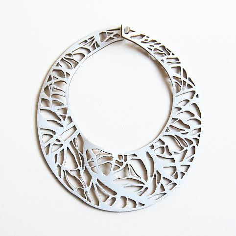 Arbro white necklace in laser cut neoprene by Black Lune.