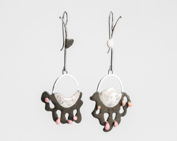 Black and white Rococo Forest earrings by Lillian Yuen.