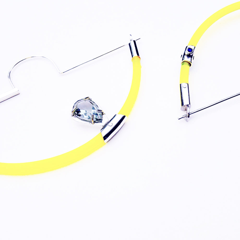 loop earrings are hand fabricated sterling silver, acrylic and green quartz by Anna Lindsay MacDonald