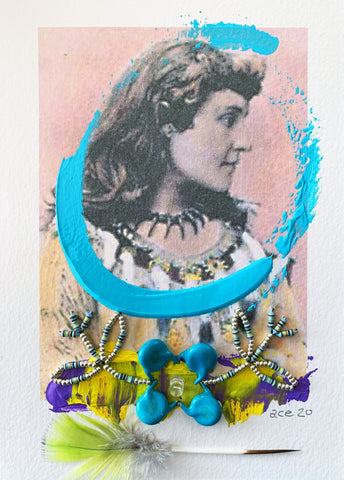 Tekahionwake (Pauline E. Johnson) (2020) mixed media on paper 18 x 13 cm.