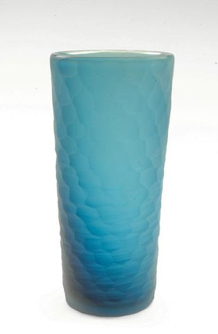 Blown and carved vessel in aqua with a honeycomb pattern, 26 x 10.5 cm.