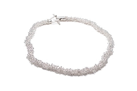 "Sterling silver necklace with a shimmering fine silver finish from the ShikShok Series. This neckpiece is 16""/40 cm in length and has a beautiful and secure magnetic clasp."