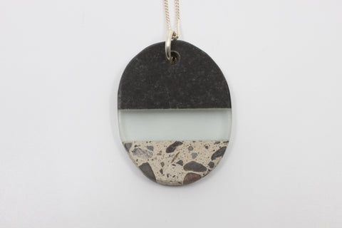 "Christy Haldane Rock and glass pendant on 24"" sterling silver chain"