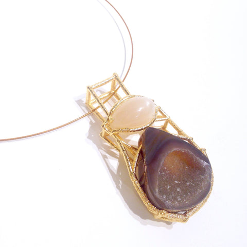Neckpiece with electroformed gold setting, druzy quartz and moonstone pendant.